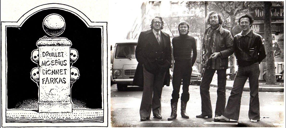 The original Moebius-designed Humanoids logo; The Humanoids founding fathers (l-r), Farkas, Dionnet, Druillet, Moebius